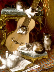 Adesivo murale  Kittens at play with a guitar - Jules Le Roy