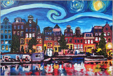 Stampa su plexi-alluminio  Starry Night over Amsterdam Canal with Van Gogh Inspirations - M. Bleichner