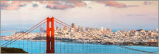 Stampa su plexi-alluminio  Panoramic sunset over Golden gate bridge and San Francisco bay, California, USA - Matteo Colombo