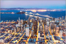 Adesivi murali  Aerial view of San Francisco downtown with Bay bridge at night, California, USA - Matteo Colombo
