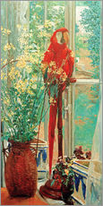 Adesivi murali  Flower still life with parrot at the window - Heinrich Vogeler