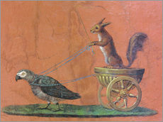 Adesivo murale  Parrot draws cars with squirrels