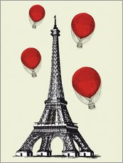 Adesivo murale  Vintage Paris Eiffel tower and red ballons - Nory Glory Prints