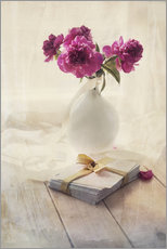 Adesivo murale  Still life with pink peonies and love letters - Jaroslaw Blaminsky
