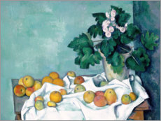 Poster Premium Still Life with Apples and a Pot of Primroses