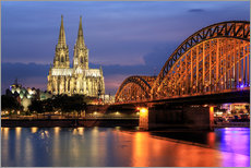 Adesivo murale  Cologne Cathedral and Hohenzollern Bridge at night - Oliver Henze