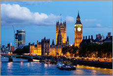 Stampa su plexi-alluminio  Big Ben and Westminster Bridge in the Evening, London