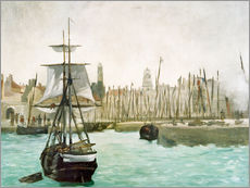 Stampa su plexi-alluminio  The Port of Calais - Edouard Manet