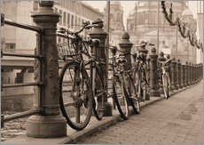 Stampa su plexi-alluminio  Bicycles on a promenade
