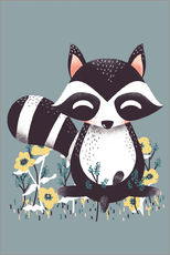 Adesivo murale  Animal friends - The raccoon - Kanzilue