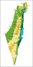 Poster Premium  Mappa d'Israele (inglese)