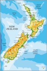 Stampa su tela  New Zealand - Map