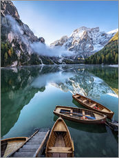 Adesivi murali  Early morning on Lake Braies - Dolomite Alps Italy - Achim Thomae