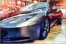 Adesivo murale  Sports car with reflecting surface