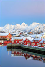 Adesivo murale  Pink sunset over the typical red houses reflected in the sea, Svolvaer, Lofoten Islands, Arctic, Nor - Roberto Sysa Moiola