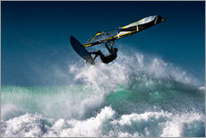 Stampa su plexi-alluminio  Windsurfer in the air above splashing waves, Tarifa, Cadiz, Andalusia, Spain - Ben Welsh