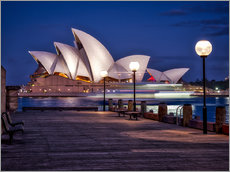 Adesivo murale  A boat passes by the Sydney Opera House, UNESCO World Heritage Site, during blue hour, Sydney, New S - Jim Nix