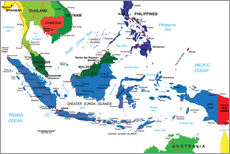 Adesivo murale Indonesia - Political map, before 2002
