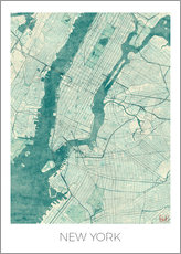 Stampa su plexi-alluminio  New York Map Blue - Hubert Roguski