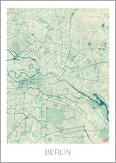 Stampa su plexi-alluminio  Berlin Map Blue - Hubert Roguski