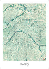 Stampa su plexi-alluminio  Paris Map Blue - Hubert Roguski