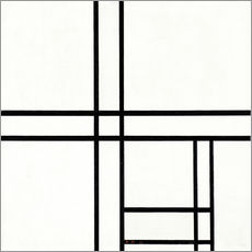 Adesivo murale  Composition in White, Black, and Red - Piet Mondrian