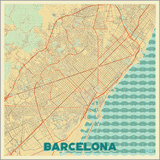 Adesivo murale  Barcelona Map Retro - Hubert Roguski