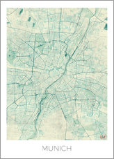 Adesivi murali  Munich Map Blue - Hubert Roguski