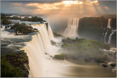 Stampa su plexi-alluminio  Iguazu falls waterfall at sunset. - Alex Saberi