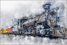 Stampa su plexi-alluminio  Steam locomotive Durango and Silverton Narrow Gauge Railroad - Colorado - USA - Peter Roder