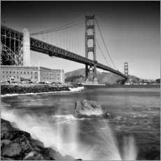Adesivo murale  Golden Gate Bridge with breakers - Melanie Viola