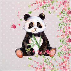 Stampa su plexi-alluminio  Little panda bear with bamboo and cherry blossoms - UtArt