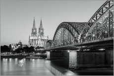 Adesivo murale  Cologne at night in black and white - Michael Valjak