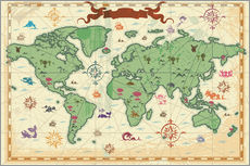 Stampa su plexi-alluminio  treasure map - Kidz Collection