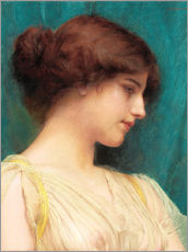 Stampa su plexi-alluminio  Study of a Girl's Head - John William Godward