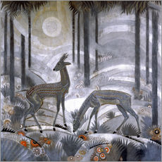 Adesivo murale  Two deer in the woods - Jean Dunand