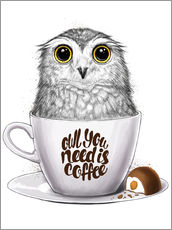 Stampa su plexi-alluminio  Owl you need is coffee - Nikita Korenkov