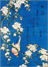 Adesivi murali  Bullfinch and weeping cherry - Katsushika Hokusai