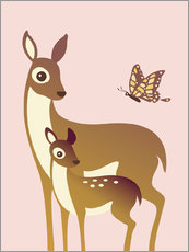 Adesivi murali  Mom And Baby Deer With Butterfly - Ashley Verkamp