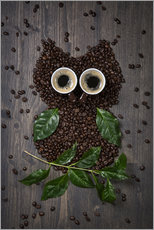 Adesivi murali  Coffee owl from beans, leaves and cups - Elena Schweitzer