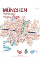 Adesivi murali  Munich city map - campus graphics
