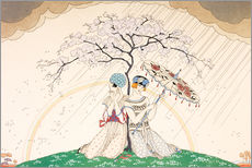 Stampa su plexi-alluminio  Two women sheltering from the rain, under a tree - Georges Barbier