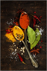 Adesivo murale  Bright spices on an old wooden board
