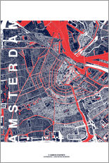 Adesivo murale  City of Amsterdam Map midnight - campus graphics