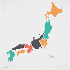 Stampa su plexi-alluminio  Japan map modern abstract with round shapes - Ingo Menhard