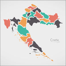 Adesivo murale Croatia map modern abstract with round shapes