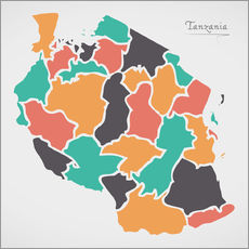 Adesivo murale Tanzania map modern abstract with round shapes