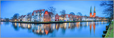 Adesivo murale  Panoramic of Lubeck reflected in river Trave, Germany - Roberto Sysa Moiola