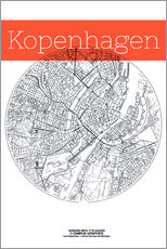 Adesivi murali  Copenhagen map city black and white - campus graphics