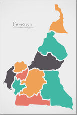 Adesivo murale Cameroon map modern abstract with round shapes